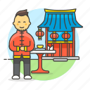 asian, chinese, chopsticks, food, man, restaurant, table, waitress icon