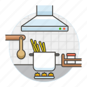 cooking, cookware, extractor, fan, food, kitchen, kitchenware, pasta, pot, spaghetti, stock icon