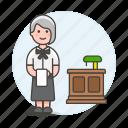 counter, customer, desk, female, food, reception, restaurant, service, staff, waitress icon