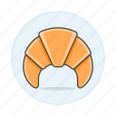 baked, bakery, bread, breakfast, croissant, food, goods icon