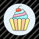 1, baked, bakery, baking, cherry, cupcake, food, good, sweet, swirl icon