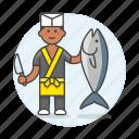 3, asian, fish, food, fresh, japanese, knife, male, merchant, seller, vendor icon