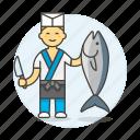 asian, fish, food, fresh, japanese, knife, male, merchant, seller, vendor icon