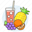 fruits, punch, mixed, pineapple, mix, food, juice, straw, grapes, fruit, glass, orange icon