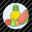 apple, food, fruits, orange, pear, pineapple, vegetables, watermelon icon