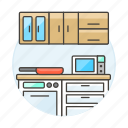 cabinet, cooking, counter, cupboard, food, frying, kitchen, microwave, pan, stove icon