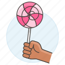 3, candy, confectionery, food, hand, holding, lolipop, store, sweets icon