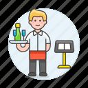 2, champagne, customer, food, male, menu, restaurant, service, serving, staff, tray, waiter icon