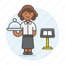 customer, domed, female, food, menu, restaurant, service, staff, tray, waitress icon