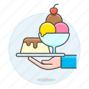 cold, cream, cup, dessert, food, ice, serve, serving, shop, sundae, sweet, waiter, waitress icon