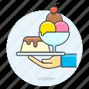 2, cold, cream, cup, dessert, food, ice, serve, serving, shop, sundae, sweet, waiter, waitress icon