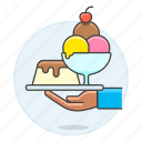 3, cold, cream, cup, dessert, food, ice, serve, serving, shop, sundae, sweet, waiter, waitress icon
