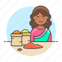 2, asian, basket, female, food, half, indian, merchant, seller, spice, vendor icon
