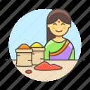asian, basket, female, food, half, indian, merchant, seller, spice, vendor icon