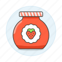 confiture, food, ingredient, jam, jar, marmalade, preserve, strawberry, sweets icon