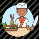asian, chef, chopsticks, cook, food, half, ikura, japanese, knife, male, nigiri, sushi, wasabi icon
