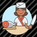 2, asian, chef, cook, cut, female, fish, food, fresh, half, japanese, knife, salmon, sushi icon