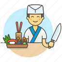 male, chopsticks, ikura, food, half, asian, nigiri, wasabi, chef, sushi, knife, japanese, cook icon
