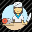 asian, chef, cook, cut, female, fish, food, fresh, half, japanese, knife, salmon, sushi icon