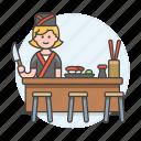 sushi, asian, restaurant, nigiri, cook, full, tray, female, chef, knife, japanese, food icon