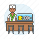 sushi, asian, fish, restaurant, stool, counter, cook, full, chef, male, japanese, food icon