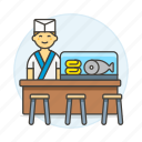 asian, chef, cook, counter, fish, food, full, japanese, male, restaurant, stool, sushi icon