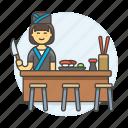 asian, chef, cook, female, food, full, japanese, knife, nigiri, restaurant, sushi, tray icon