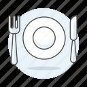 cutlery, food, fork, kinfe, meals, plate, silverware, tableware icon