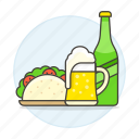 and, beer, bottle, fast, food, glass, jar, meals, mexican, taco icon