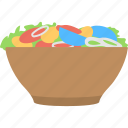 delicious food, fruit salad, fruits in bowl, healthy diet, meal icon