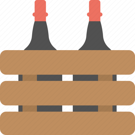 beverage, champagne bottles, festive drink, party drink, wine crate icon
