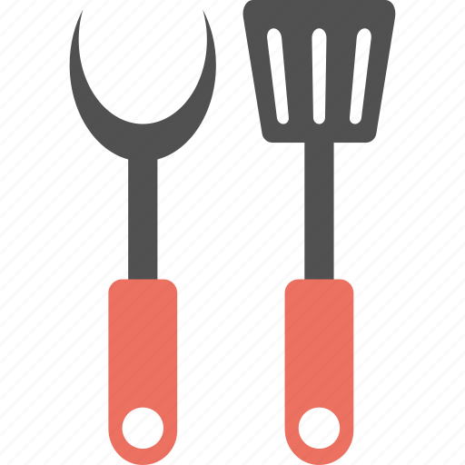 Bbq equipment, fork with spatula, kitchenware, roasting utensil, grilled tool icon