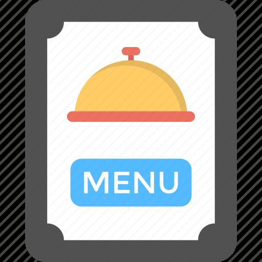 foodstuff list, hotel menu, menu card, restaurant brochure, service list icon