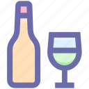 alcohol, bottle, bottle and glass, drinking, glass, water, wine