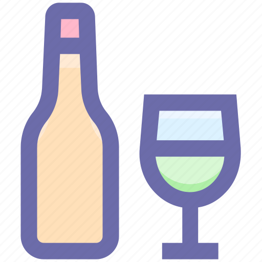 Alcohol, bottle, bottle and glass, drinking, glass, water, wine icon - Download on Iconfinder