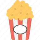cinema snacks, maize corn, popcorn, snacks, takeaway food icon