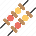 barbecue, bbq, grilled food, kebab, meat skewer icon