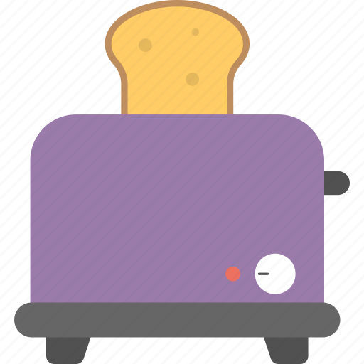 breakfast cook, electric appliance, kitchenware, toaster with bread, toasting utensils icon