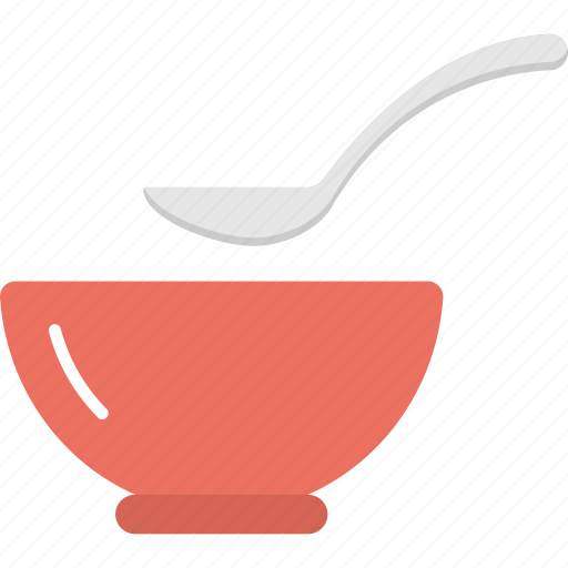 Utensils, tableware, kitchenware, bowl with spoons, food container icon