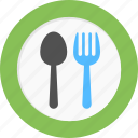 dinnerware, fork and spoon, restaurant sign kitchenware, tableware icon