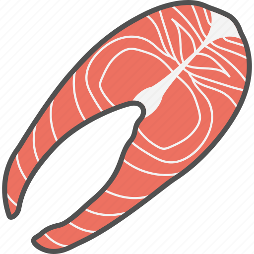 fish, food, nutrition, salmon steak, seafood icon