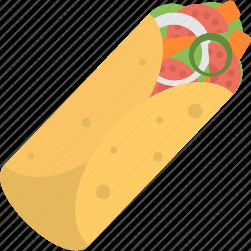 Fajita roll, fast food, tortilla wrap, meal, sandwich wrap icon