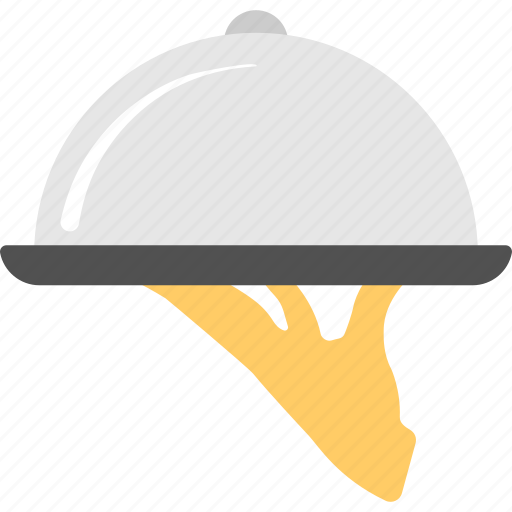 course cuisine, dinner delivery, food service, hand holding cloche, restaurant food icon