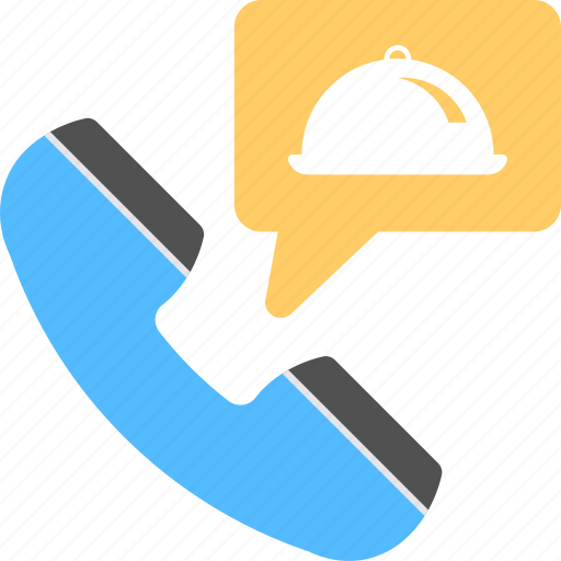 food call service, food ordering, home delivery, receiver with cloche, restaurant service icon