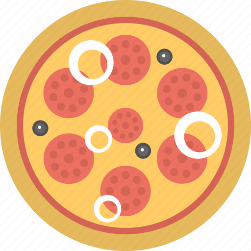 Pepperoni pizza, junk food, meal, fast food icon - Download