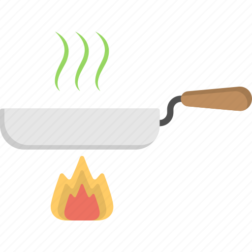 cooking, food preparation, frying, pan on fire, stirring process icon