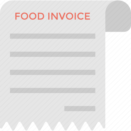 Shopping receipt, food invoice, restaurant receipt, grocery expenses, money for service icon