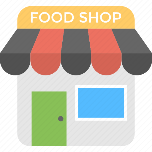 Food shop, food court, shopping store, supermarket, grocery shop icon