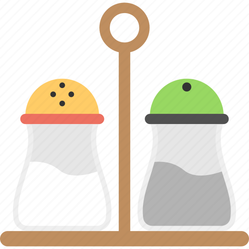 dinner accessories, pepper shaker, salt shaker, spice stand, tableware icon