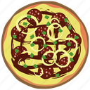 cooking, fast food, fastfood, meal, onions, pizza, salami icon